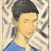 Otto Mueller, Bildnis Eugen (Knabenkopf), 1919 Lithographie, handkoloriert in Blau und Ocker auf elfenbeinfarbenem Papier, Staatsgalerie Stuttgart, Graphische Sammlung