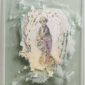 """Stephen Cone Weeks, """"der Junge mit der Gießkanne"""" (Detail), 2015, 140 x 38 cm, Zeichnung auf Spachtelmasse auf Glas. Foto: Olaf Bergmann."""