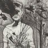 "Günter Brus, ""Kurzschluss"", 1990 (Detail), Kaltnadel auf Aluminium, Blatt: 53 x 37,5 cm, Druckplatte: 34 x 23,5 cm, BRUSEUM/Neue Galerie Graz, Universalmuseum Joanneum, Foto: Universalmuseum Joanneum/N. Lackner"