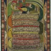 Adolf Wölfli, Saint Adolf mordu à la Jambe par le Serpent, 1927, Lead pencil and coloring pencil on paper, 68 x 51 cm, Photo Marie Humair, AN, Collection de l'Art Brut, Lausanne: ©