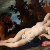 Daniel Seiter (1647-1705) Vénus endormie, dévoilée par un satyre. Circa around 1690. Oil on canvas: H. 114.5 x W. 168.3 cm.   Galerie Mendes