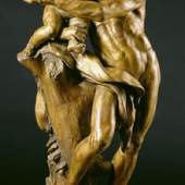 Silenus with the Infant Bacchus, undated. Christophe Veyrier. Gilded terracotta statue. 32 inches high.