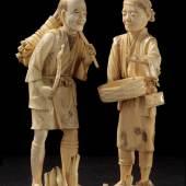 Japanische Bauern Elfenbein, Anfang 19. Jh.  Zur Verfügung gestellt von: Galerie Darya