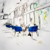 /  Deniz Alt. Form. Figur. Raum. /  Das Gespräch 2020 Öl auf Leinwand / 150 x 160 cm