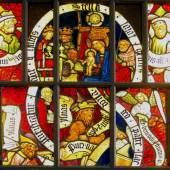 Gotisches Glasfenster aus der ehemaligen Frauenkirche  Gotisches Glasfenster aus der ehemaligen Frauenkirche, Stift Reichersberg. Die Scheiben stammen aus bayerischen Werkstätten. – um 1470. Reichersberg, Stift Reichersberg.  Wernher und Dietburga von Reichersberg stifteten nach dem frühen Tod ihres einzigen Kindes 1084 ihre Burganlage und gründeten darin das Augustinerchorherrenstift. Kirchengeschichtlich betrachtet, bildeten Bayern und Österreich einen gemeinsamen Kulturraum: Ober- und Niederösterreich gehörten zu weiten Teilen zur Diözese Passau. Das Glasfenster versinnbildlicht die über Jahrhunderte anhaltende Nähe der beiden Regionen: Die Glasscheiben in der ehemaligen Frauenkirche des heute österreichischen Klosters, die in einzigartig frischen Farben die Anbetung der Könige zeigen, wurden in bayerischen Werkstätten gefertigt.   ©  Nürnberg, Germanisches Nationalmuseum