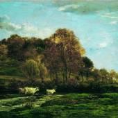 Charles-François Daubigny  Herbstliche Aulandschaft, 1867  Öl auf Leinwand, 85 x 150 cm  © Belvedere, Wien