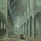 3018 HANS VREDEMAN DE VRIES (Leeuwarden 1527-1604 Antwerpen) Gotisches Kircheninterieur. 1594. Öl auf Holz. 24,5 x 39,7 cm.  CHF 80 000 / 120 000