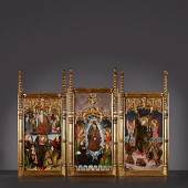 Altarpiece of Saint-Michael Tempera on gesso South-Spain, Valencia or Granada under Mozarabic influence 2nd quarter of the 15th century 70 x 146 cm (x 3).  Aussteller: De Backker Medieval Art