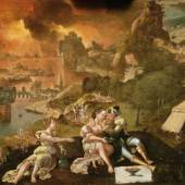 Galerie De Jonckheere 'Lot and his daughters in a panoramic landscape with the towns of Sodom and Gomorrah in flames' Lucas Gassel (Helmont circa 1500-1569 Brussels) Oil on panel 38 x 55 cm Provenance: private collection He painted in the vein of Joachim Patenier using panoramic landscape like him but he expanded his field of vision by encompassing the universe in its entirety. His landscapes were always accompanied by scenes from the Old and New Testament. This episode is taken from Chapter 19 of Genesis and starts with the story of the towns of Sodom and Gommorah. Here the interest is not limited by the mannerist refinement of the characters, but also by the magnificient panoramic landscape. Endowed with a broad perspective, it reveals the different stages of the story to the viewer. It can be considered as one of the artist's greatest achievements