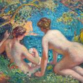 Georges d'Espagnat (1870-1950) Women Bathing.  Oil on canvas signed, monogrammed bottom left. Dimensions: H. 28.7 x W. 36.2 inches   Galerie Delvaille