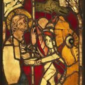 Der Abstieg Christi in die Hölle um 1356 Künstler: unbekannt Datierung: um 1356 Ort: geschaffen für die Frauenkirche in Nürnberg Material/Technik: Glas, Blei, farbige Hüttengläser, Schwarzlotmalerei, Bleiruten Inventarnummer: MM97