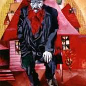 Der Jude in Hellrot (Le juif en rose) Künstler, Beteiligte: Marc Chagall Entstehungszeit: 1915 Mat. / Technik: Öl auf Leinwand Masse: 100 x 80.5 cm Creditline: © Staatliches Russisches Museum, St. Petersburg