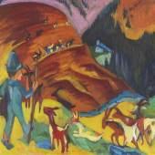 Auktion 496 - Lot 133 ERNST LUDWIG KIRCHNER Heimkehrende Ziegenherde, 1920 Ergebnis: € 1.562.500