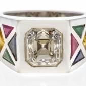 Diamant-Ring Diamant im Aascher Cut,  ca. 3,25 Karat | Platin Taxe: €4.500 – 5.000