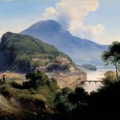 Johann Fischbach (1797 – 1871), Salzburger Ansicht mit dem Kapuzinerberg, Öl/Holz, 37,9 x 47,5 cm, Inv. Nr. 255, Aufnahme: Ulrich Ghezzi, OberalmZum