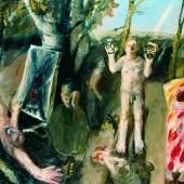 Klaus Fußmann *1938, Die Schindung des Marsyas, 1981, Öl auf Leinwand, 193,5 x 253 cm, Privatsammlung, Copyright: Klaus Fußmann