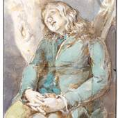 Johann Georg von Dillis: Des Künstlers Bruder Cantius Dillis schlafend, um 1795, Aquarell über Bleistift, Randleiste in Schwarz, Papier aus 4 Teilen zusammengefügt, 18,2 x 15,2 cm, Museum Georg Schäfer, Schweinfurt