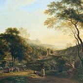 Johann Georg von Dillis: Römische Herbstlandschaft (Der alte Turm bei Marino), 1821, Öl auf Leinwand, 80 x 103 cm, Privatbesitz