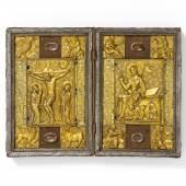 Diptychon  Folge von zehn gotischen Relieftafeln  Frankreich um 1410-20, adaptiert in einem barocken Diptychon  Schätzpreis: 50.000 – 100.000 Euro