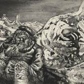 Otto Dix Mahlzeit in der Sappe (Lorettohöhe),1924 Radierung, 353 x 475 mm © Hamburger Kunsthalle / bpk Photo: Christoph Irrgang