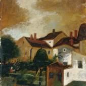 Josef Dobrowsky, Häuser am Abend, 1927 Öl auf Karton 50,5 x 39,5 cm © Belvedere, Wien / © Bildrecht, Wien, 2014