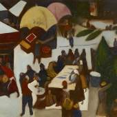 Josef Dobrowsky, Weihnachtsmarkt, 1933 Öl auf Leinwand 53,5 × 66 cm © Privat, Wien / © Bildrecht, Wien, 2014