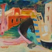 Johanna Dorn, Hafen Chioggia, 1970, Öl auf Hartfaserplatte, Privatbesitz / Foto: Land OÖ, E. Grilnberger