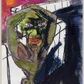 Rainer Fetting, Figur an der Mauer, 1987, Aquarell und Kreide, Blattmaß: 72 x 54 cm, © Rainer Fetting, Foto: Anja Elisabeth Witte