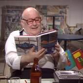 Dieter Roth Gebirgsminen Lesung in seiner Ausstellung im LOFT München, Juli 1985 (Videostill) 1985/2014 Video auf DVD, ca. 200 min. Kunstmuseum Stuttgart © P.A.P. Kunstagentur