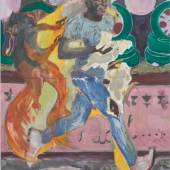 Michael Armitage, The Chicken Thief, 2019.  Oil on lubugo bark cloth. 200 x 150 cm. Courtesy the Artist and White Cube © Michael Armitage © White Cube (Theo Christelis).