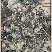 Albrecht Dürer, Die vier apokalyptischen Reiter, 1496-98, Holzschnitt, Staatliche Kunsthalle Karlsruhe.
