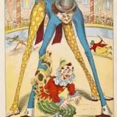 M. F. Dufour Le nouveau cirque Mit 5 farblithografierten Tafeln mit beweglichen Ziehelementen und 6 farbigen Illustrationen. Paris, um 1890 Schätzpreis: € 400