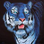 Galerie DUMONTEIL  Blue Tiger on Black  2012. Acrylic on linen, signed, 135 x 135 cm