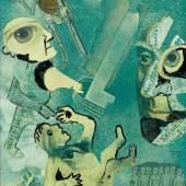 Friedrich Dürrenmatt Eigenhändige Papier-Collage mit Pinselzeichnungen. CHF 3 000 / 5 000 Auktion 29. März 2014