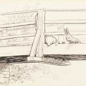 E. H. Shepard_Two ink drawings from The House at Pooh Corner I_