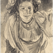 ADOLPH MENZEL Vorgebeugte weibliche Figur in Tracht von vorn (Maria Cocozza). Um 1881/82. CHF 9 000/12 000