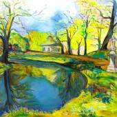 Marina Klett, Teehaus im Park Sanssouci, 95 x 115 cm, Öl auf Leinwand