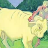 Maria Lassnig, Den Stier bei den Hörnern packen, Mitte 1980er-Jahre, (c) Maria Lassnig Stiftung