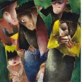 Werner Scholz (1898 – 1982)  Trauernde (Les affligés)   1930 Öl auf Karton   75 x 75cm Ergebnis: 81.270 Euro Int. Auktionsrekord für den Künstler