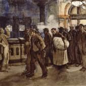 Käthe Kollwitz, Arbeiter, vom Bahnhof kommend (NT 146)  Um 1899, Gouache auf Papier, 54 x 40 cm © Käthe Kollwitz Museum Köln
