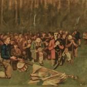 """Albin Egger-Lienz (Stribach bei Lienz 1868 - 1925 Rentsch bei Bozen) """"Ave Maria nach der Schlacht am Bergisel 1809"""" Öl auf Leinwand, ausgeführt 1925 signiert, rückseitig bezeichnet, 109 x 160 cm (Kunsthandel Dr Nöth)"""