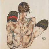 Egon Schiele: Sitzender weiblicher Rückenakt mit rotem Strumpfband, 1914, Bleistift und Gouache auf Papier, 44,2 x 30,1 cm, Leopold Museum, Wien, LM 2338 © Fotografie Leopold Museum, Wien