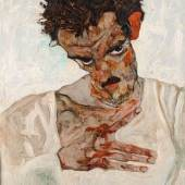 Egon Schiele: Selbstbildnis mit gesenktem Kopf, 1912, Öl auf Holz, 42,2 x 33,7 cm, Leopold Museum, Wien, Inv. 462 © Fotografie Leopold Museum, Wien