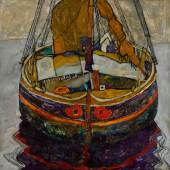 Egon Schiele (1890 – 1918) Triestiner Fischerboot (Trieste Fishing Boat) oil and pencil on canvas 75 by 75cm. 29½ by 29½in. Painted in 1912.   Estimate £6,000,000-8,000,000