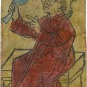 Anonym, Eichel-König, um 1470-1480. Holzschnitt, koloriert, Staatsgalerie Stuttgart, Graphische Sammlung