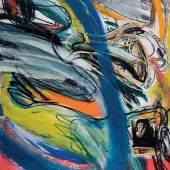 """v""""Es fehlt mir eine Übereinstimmung der Worte mit der Kurzdauer meiner Zustände Hommage à Antonin Artaud"""", 1975, Mischtechnik und Collage auf Leinwand, 199 x 166 cm"""