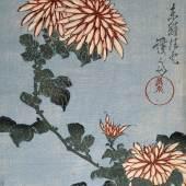 Keisai (Ikeda) Eisen Chrysanthemen (Kiku), 1830er Jahre Mehrfarbiger Holzschnitt, 36,8 x 24,5 cm Baur Foundation, Geneva / Photo Gérard, Geneva