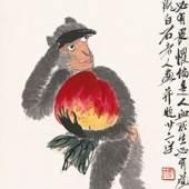 Der Affe hat einen Pfirsich gestohlen Album der chinesischen Tierkreiszeichen, 9 von 12 Qi Baishi, Farben auf Papier, 68×33.5 cm, 1944 Sammlung der Kunstakademie Peking © Beijing Fine Art Academy