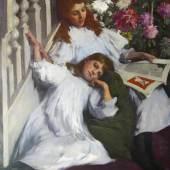 Elizabeth Adela Forbes (1859-1912)  A Fairy Story Signed  Oil on canvas  H. 122.4cm x W. 97cm  MacConnal-Mason Gallery, London
