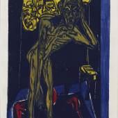 Ernst Ludwig Kirchner: Schlemihl in der Einsamkeit des Zimmers, 1915 Holzschnitt in Schwarz. Rot, Gelb, Braun und Blau 33, 3 x 23,8 cm Inv.-Nr. F 122 e, Dube H 266 Brücke-Museum Berlin Karl und Emy Schmidt-Rottluff Stiftung